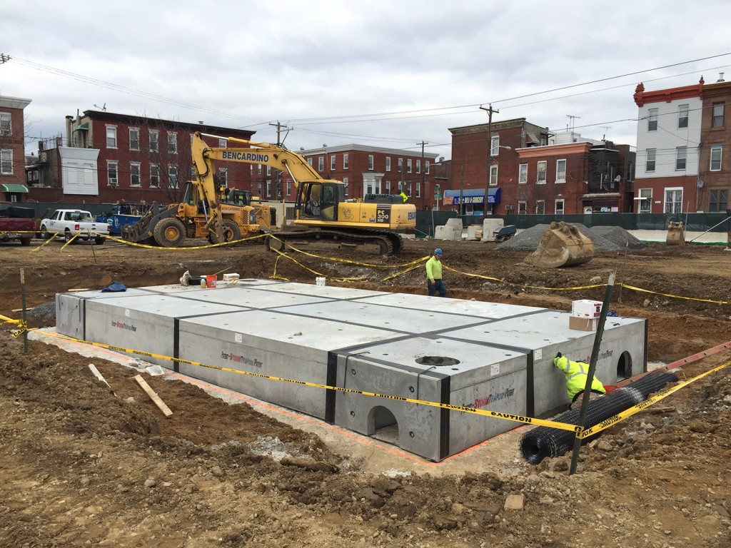 Stormwater detention basin is being installed
